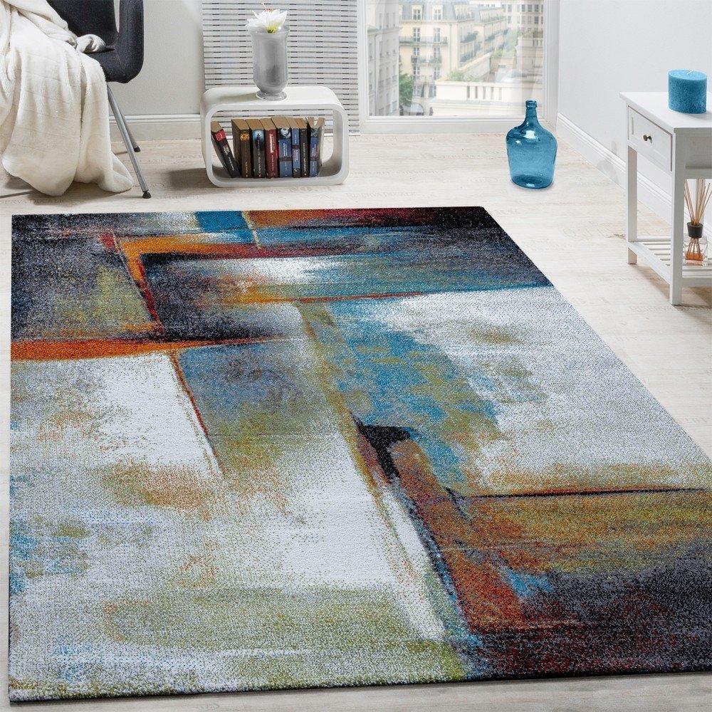 Paco Home Designer Teppich Modern Kurzflor Wohnzimmer Bunt Trendig Meliert Multicolour, Grösse 240x340 cm
