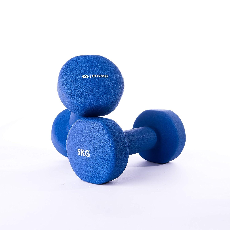 KG | PHYSIO Mancuernas de Neopreno para Mujer y Hombre (pesas vendidas en pares) GRATIS poster A3 doble cara para pared! Ideal para entrenar en casa.