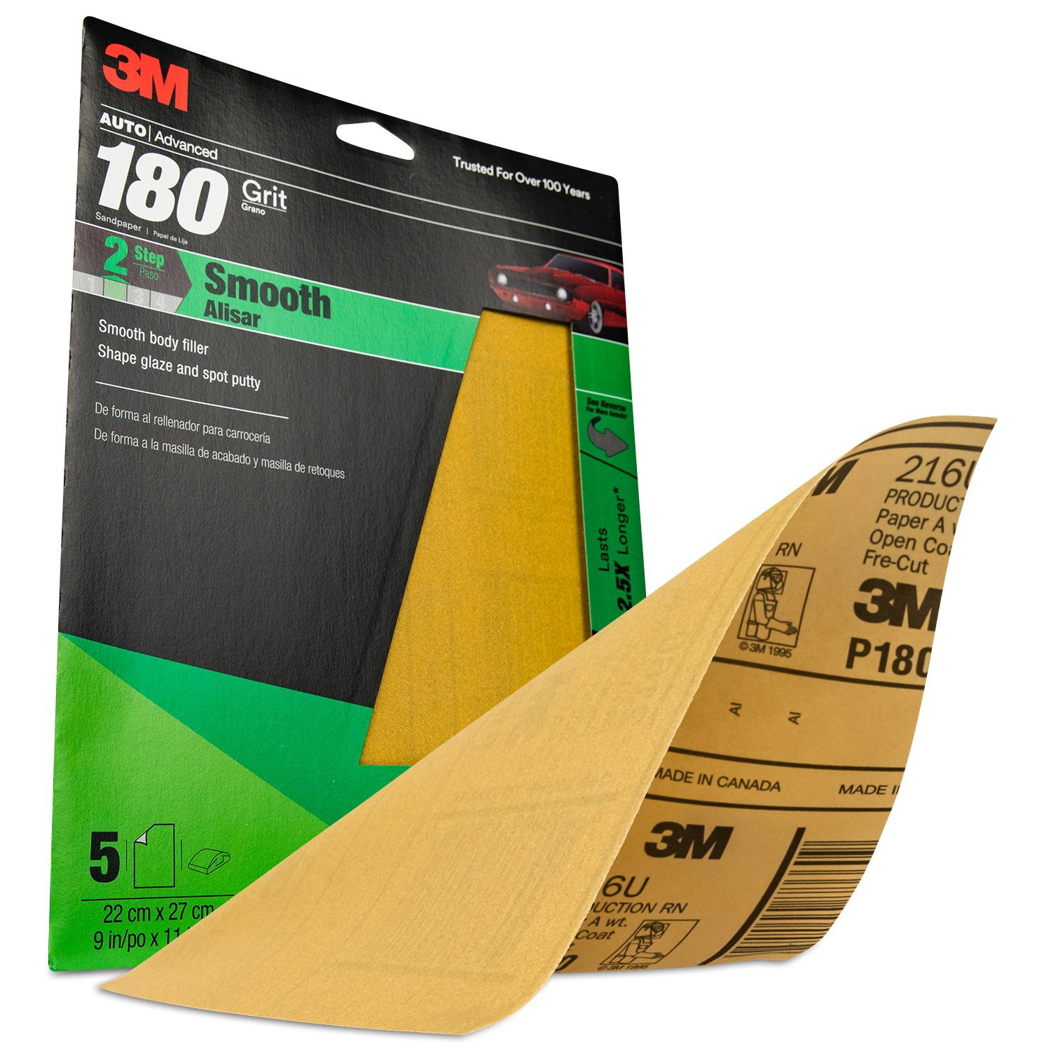 3M 32545 9'' x 11'' P180A Grit Production Resinite Gold Sheet (Pack of 20) by 3M (Image #3)