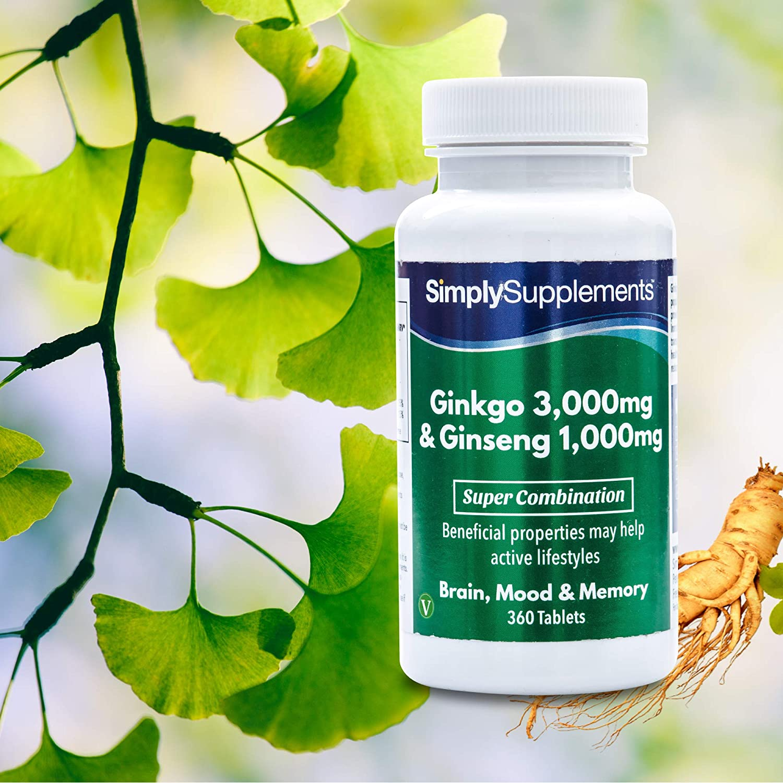 Ginkgo Biloba y Ginseng Coreano - 360 comprimidos - Hasta 6 meses de suministro - Favorece la circulación y la memoria a corto plazo - Aumenta los niveles ...