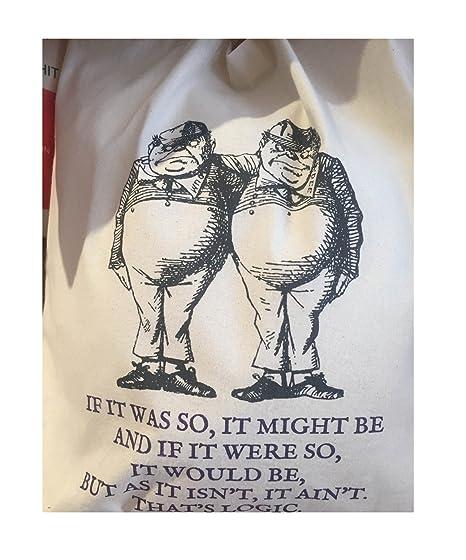 TOTE BOOK COTTON BAG: ALICE IN WONDERLAND Tweedledee and Tweedledum \'If it  was so, it might be...\'