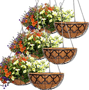 6pcs 12 Inch Round Hanging Planter Basket with Coco Coir Liner, Y&M 12