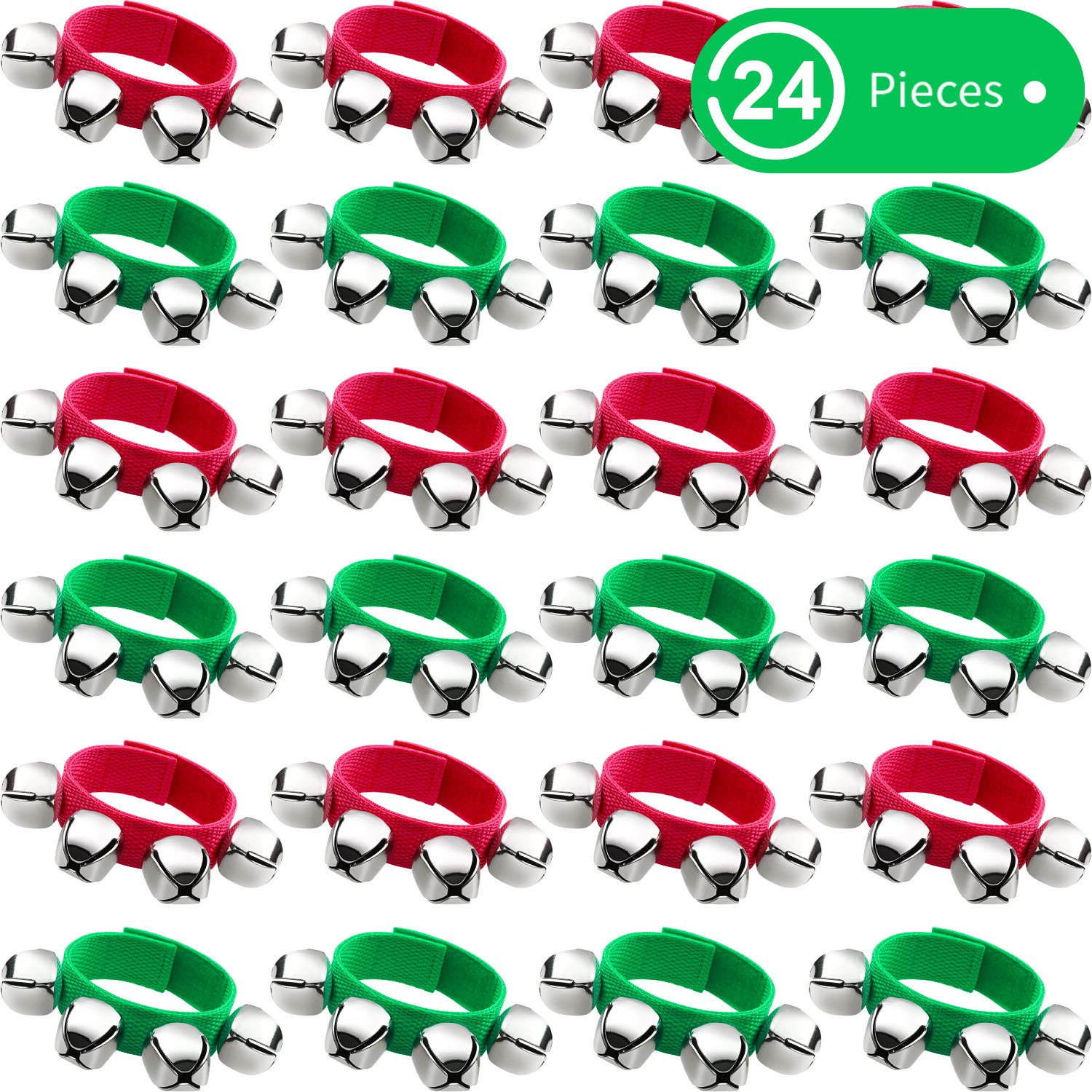 Band Wrist Bells Bracelets Jingle Musical Ankle Bells Rhythm Toys Instrument Percussion Party Favors for Christmas School Children Kids (24 Pieces, Red and Green) by BBTO
