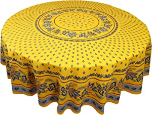 Le Cluny, Lisa Yellow with French Blue, French Provence 100 Percent Coated Cotton Tablecloth, 70
