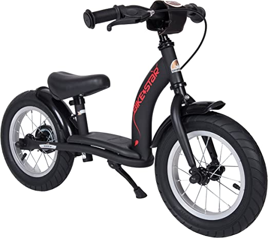 Bikestar Original - Bicicleta de Seguridad Ligera para niños con Frenos y neumáticos de Aire para niños de 3 años de Edad, 12 Pulgadas, edición clásica, Color Negro diabólico (Mate): Amazon.es: Juguetes