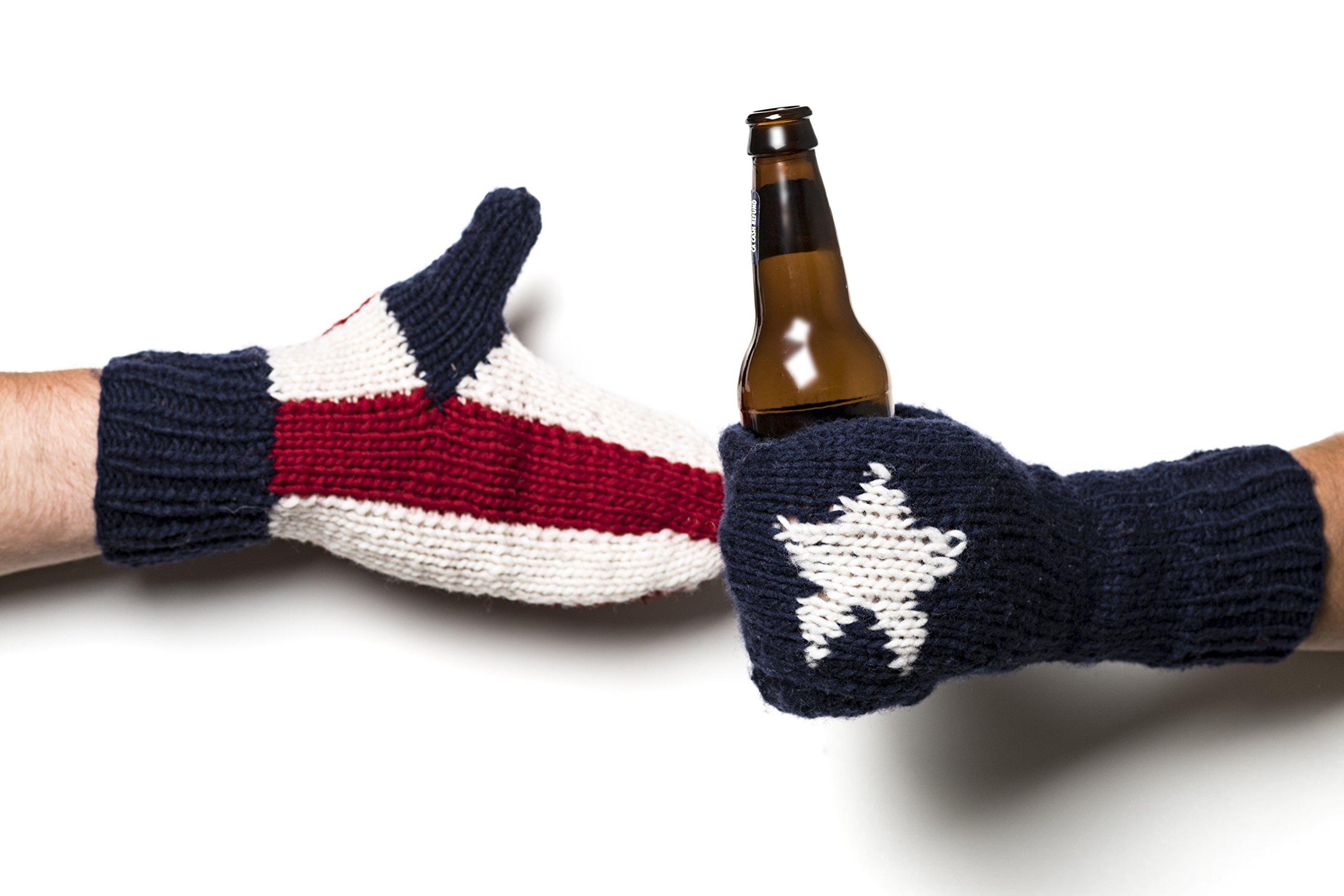 Camp Kitschy Knits USA Wool Beer Mittens Pair Drink Holder Wool Glove Stocking Stuffer Men