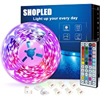 SHOPLED Led Strip Lights 5m/16.4ft Flexible Color Changing Led Lights Strip for Bedroom, 5050 RGB Led Tape Lights with…