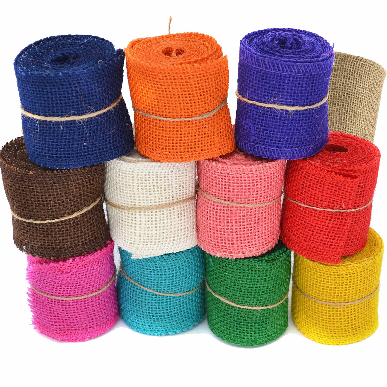 Coxeer 12 Roll 2.19Yd Burlap Ribbon Natural Ribbon DIY Handmade Colorful Hessian Ribbon for Crafting Wedding Decoration