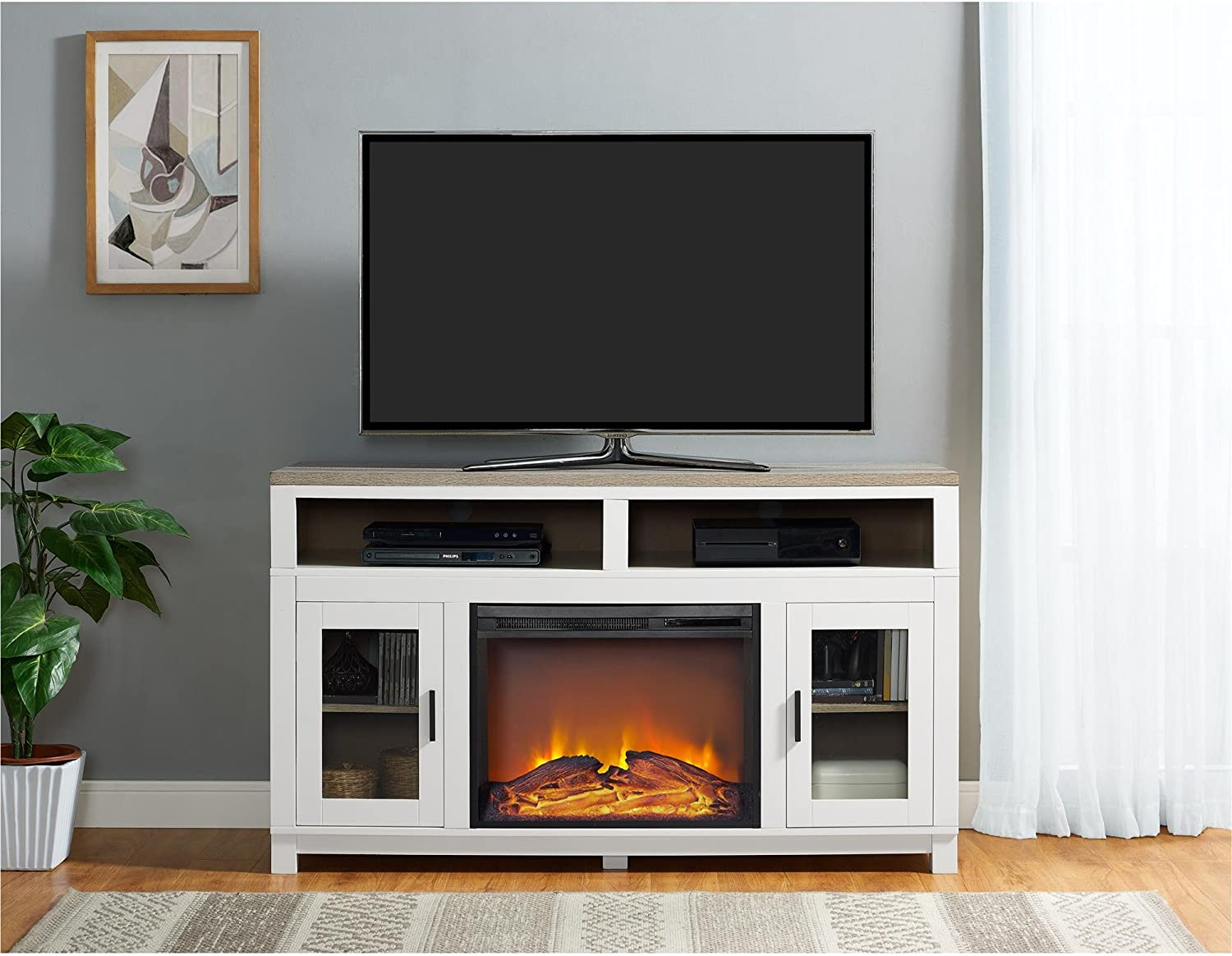 Ameriwood Home Carver Electric Fireplace Tv Stand For Tvs Up To 60 Wide White Furniture Decor