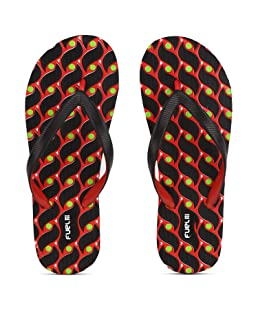 FUEL Women's Girls Comfort Embossed Black Red Eva Sole Beach, House Slippers & Flip Flops, 6 UK