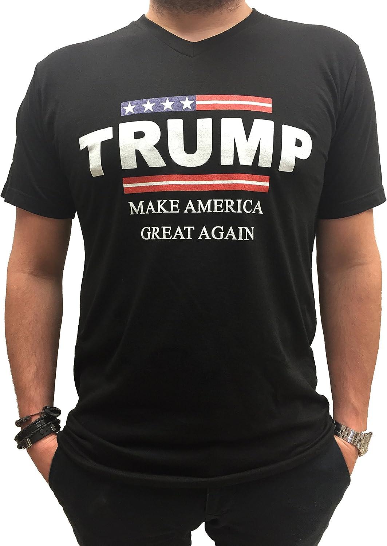 JESSICO Adults Cotton Custom Donald Trump Logo 2016 V Neck T Shirt Black