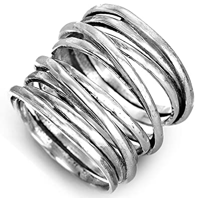 364feceb0005d Boho-Magic 925 Sterling Silver Band Rings for Women Wide Wrap Statement Ring