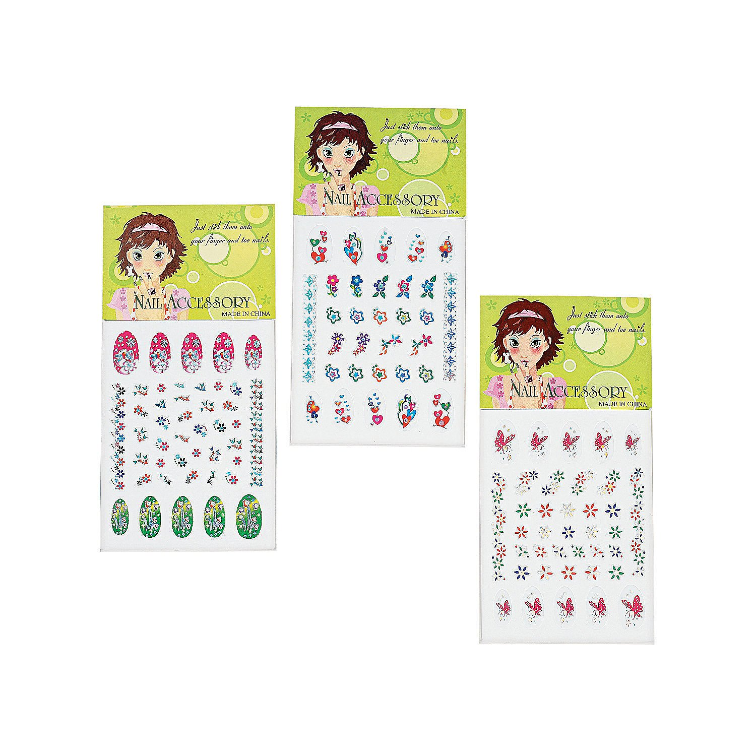 Kidsco Nail Decals – 24 Sheets, 30 Decals Per Sheet - Nail Art Stickers Assortment Of Colors And Designs – Great Party Favors, Summer, Gift, Prize – By Prize – By Kayco USA