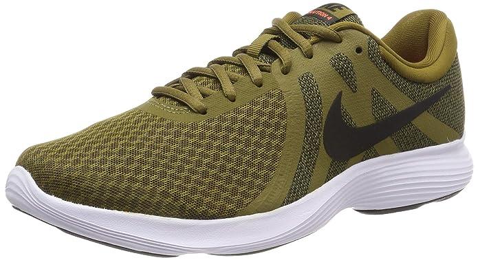 Nike Revolution 4 Herren Olivgrün mit schwarzem Streifen (Olive Flak/Black-hyper Crimson-white)