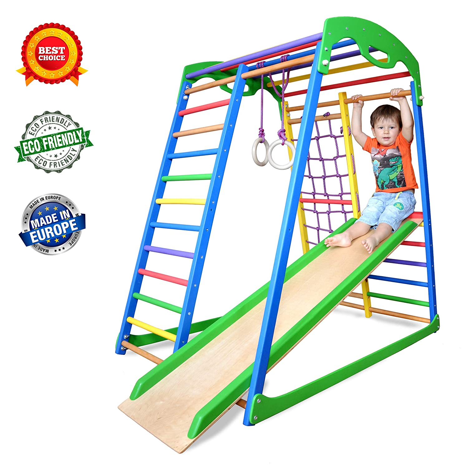 Wedanta Indoor Playground - Jungle Gym - Monkey Bars - Gymnastics Rings - Backyard Playsets for Kids - Playset for Toddlers - Toddler Climber - SportWood best backyard playset