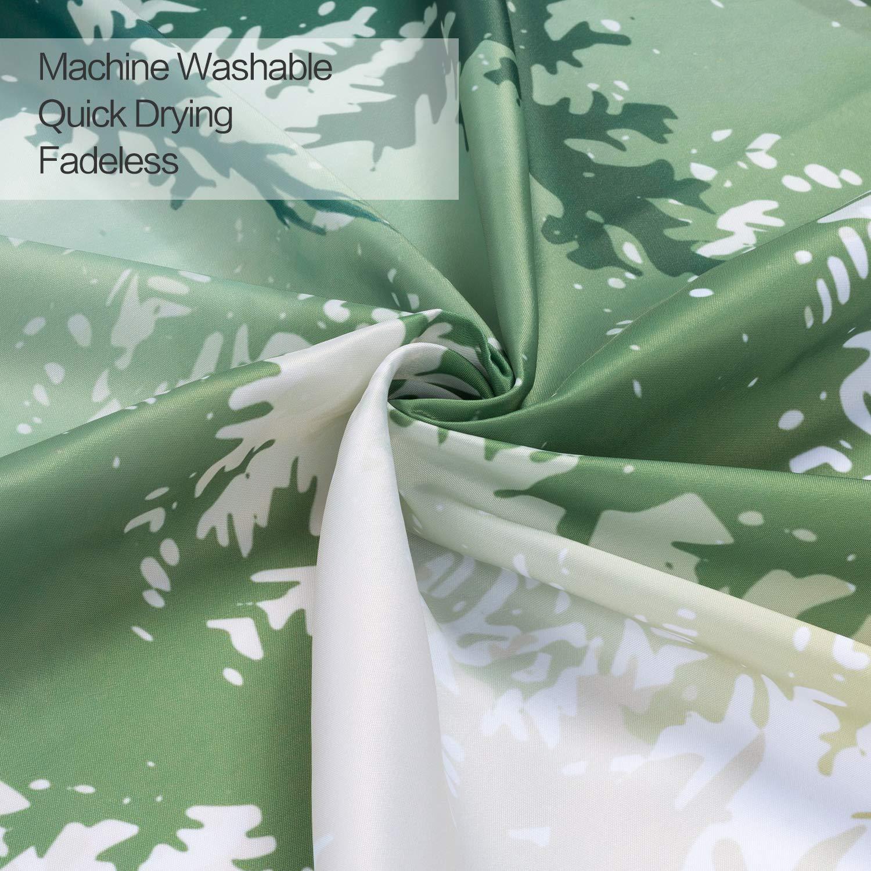 joyfeelife Fabric Shower Curtain Set Waterproof Bath Curtain for Bathroom Showers Bathtubs Home Decor with 12 Hooks, 71x71 Inch (Green Forest, 71x71 inch)