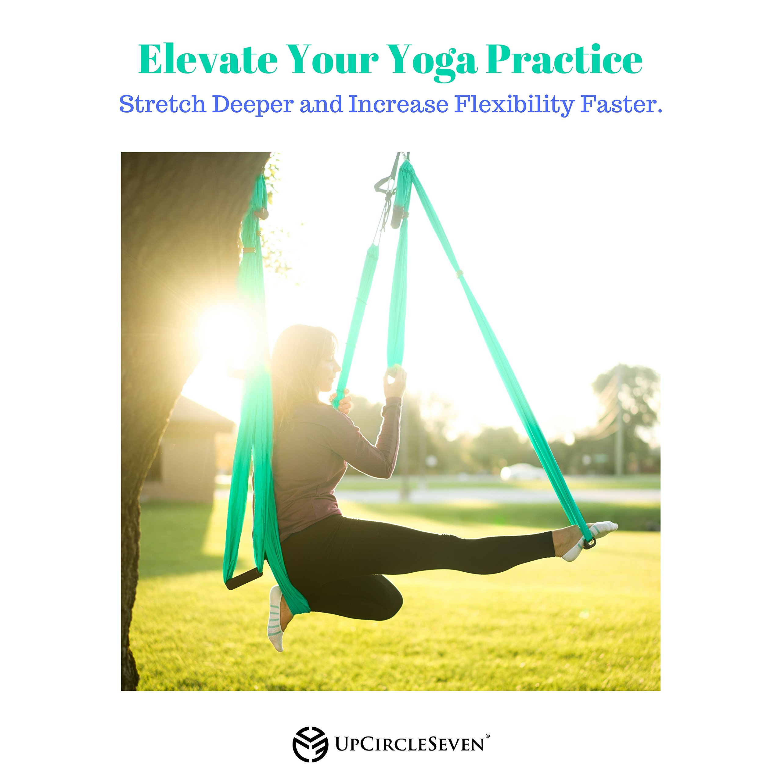 Aerial Yoga Swing - Ultra Strong Antigravity Yoga Hammock/Trapeze/Sling for Air Yoga Inversion Exercises - 2 Extensions Straps Included (Turquoise) by UpCircleSeven (Image #4)