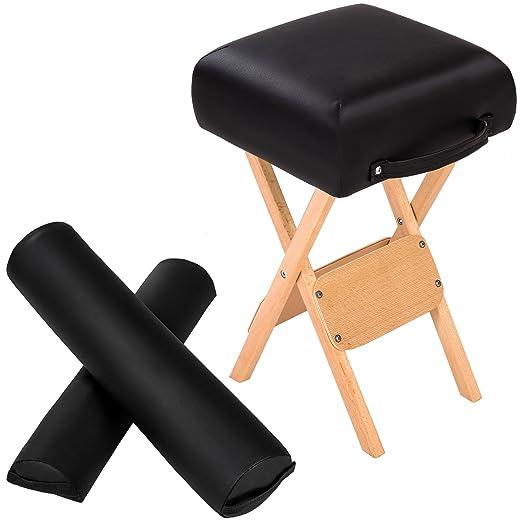 TecTake Taburete + cojín semicilíndrico + cojín cilíndrico para camilla de masaje - disponible en diferentes colores - (Negro | no. 400431)
