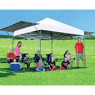 MASTERCANOPY Pop Up Canopy Tent 10x17 FT Instant Canopy with Adjustable Dual Half Awnings to Creat 170 Square feet of Shade Coverage; Sandbags, x4, Tent Stakes x8(White) : Garden & Outdoor