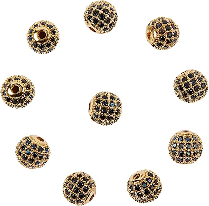 CZ Micro Pave Shamballa Spacer Beads Charms for Bracelet Necklace 8.5*5M