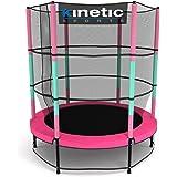 Kinetic Sports Trampoline Enfant Indoor Intérieur Jumper 140 cm Protection-Bord Pôles rembourrés, Système de Ressorts Filet de Sécurité Pink ou Bleu