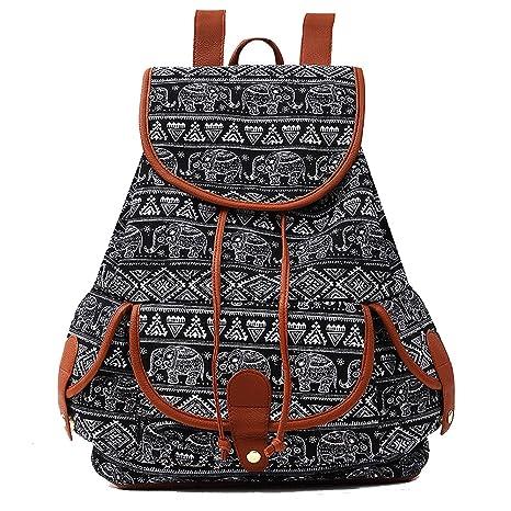 new product 4a669 0eb72 Amazon.com   Elephant Print Canvas Backpack for Women   Girls Boys  Drawstring Bag Sports Daypack (Black Elephant)   Kids  Backpacks