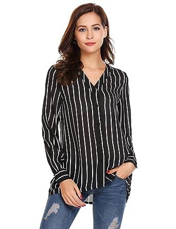 83ba4434 Bifast Women's Long Sleeve Striped Button Down Shirt V Neck Chiffon Blouse  Top, Black,