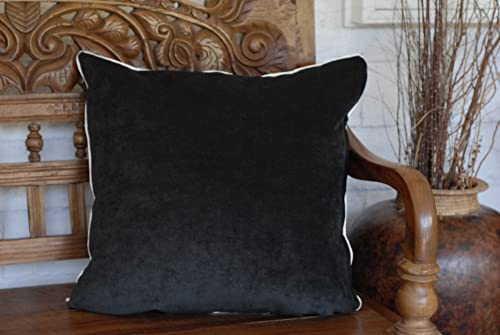 Solid Black Velvet with Ivory Piping Throw Pillow for Sofa or Couch