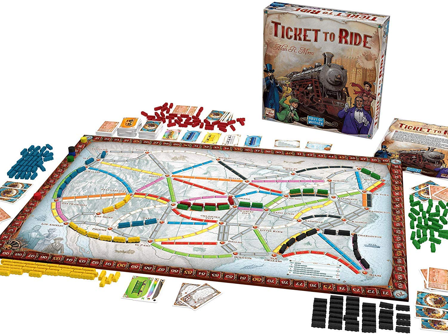 Board game ticket to ride laid out with all the pieces.