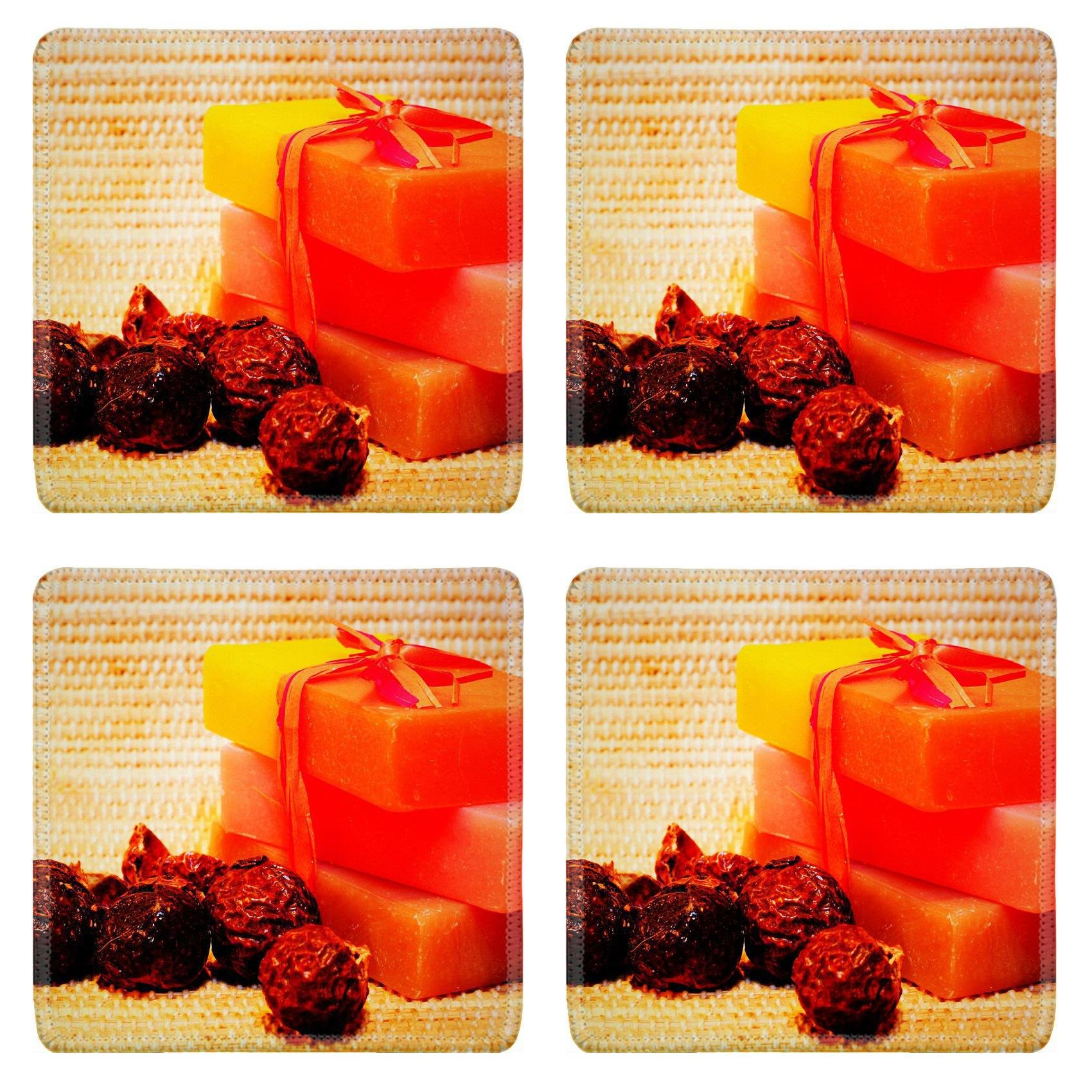 MSD Square Coasters Non-Slip Natural Rubber Desk Coasters design 12031116 Handmade Soap and soap nuts on the bamboo Square Coaster Spa products