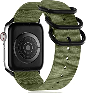 Muranne Compatible with Apple Watch Band 44mm 42mm iWatch Bands Series 5 4 3 2 1, Woven Nylon Sport Replacement Wrist Strap with Metal Buckle for Women Men, Army Green, Medium