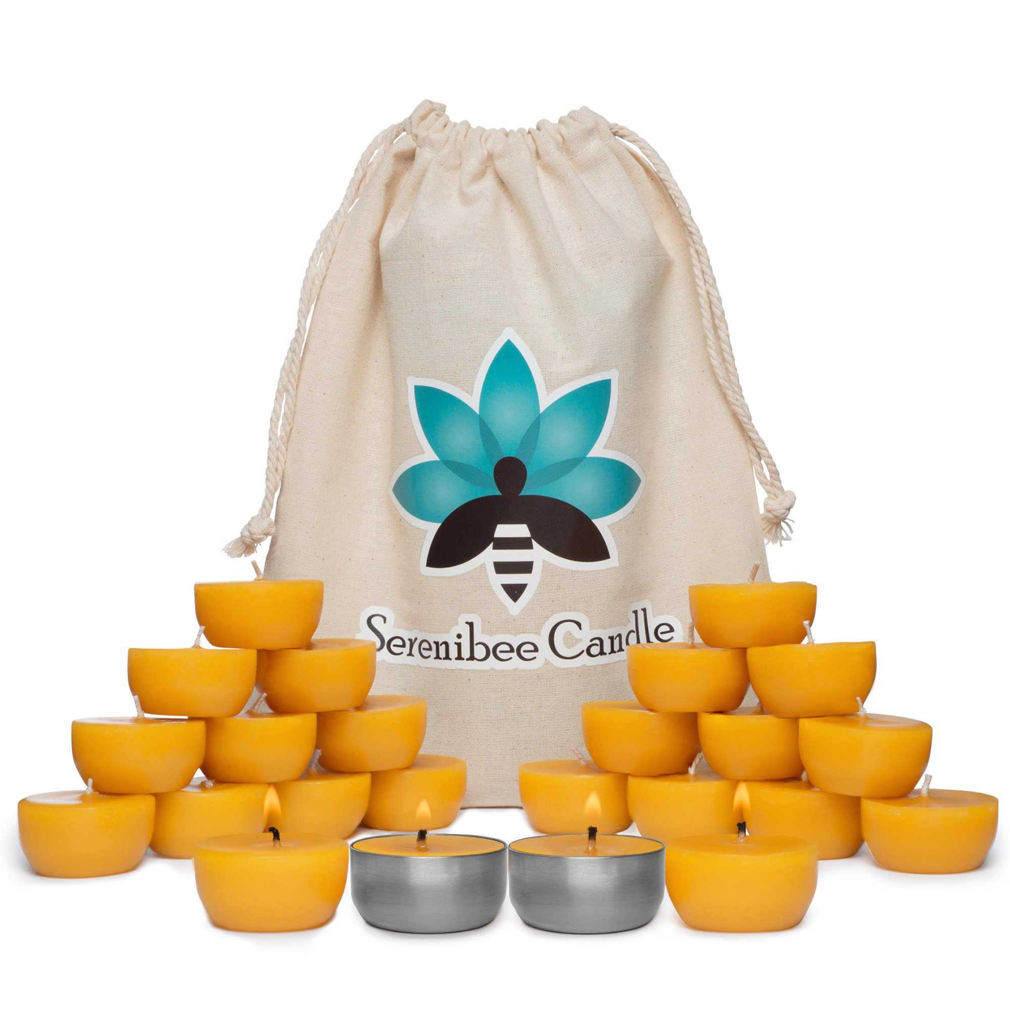 Beeswax Tea Light Candles Refills with Two Custom Reusable Sturdy Steel Candle Holders and Reusable Cotton Bag Eco Friendly Gift Set(24) by Serenibee Candle