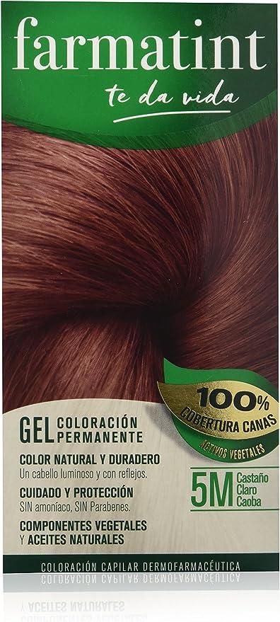 Farmatint Gel 5M Castaño Claro Caoba | Color Natural y Duradero | Componentes Vegetales y Aceites Naturales | sin Amoníaco | sin Parabenos | ...