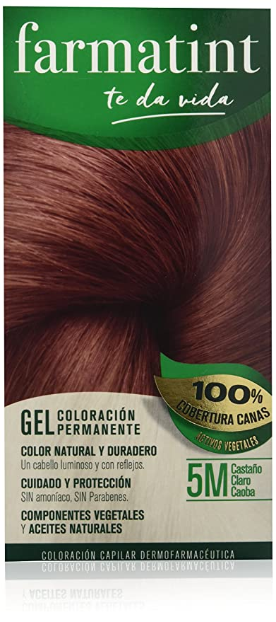 Farmatint Gel 5M Castaño Claro Caoba. Tinte permanente. Cabello natural y color duradero.