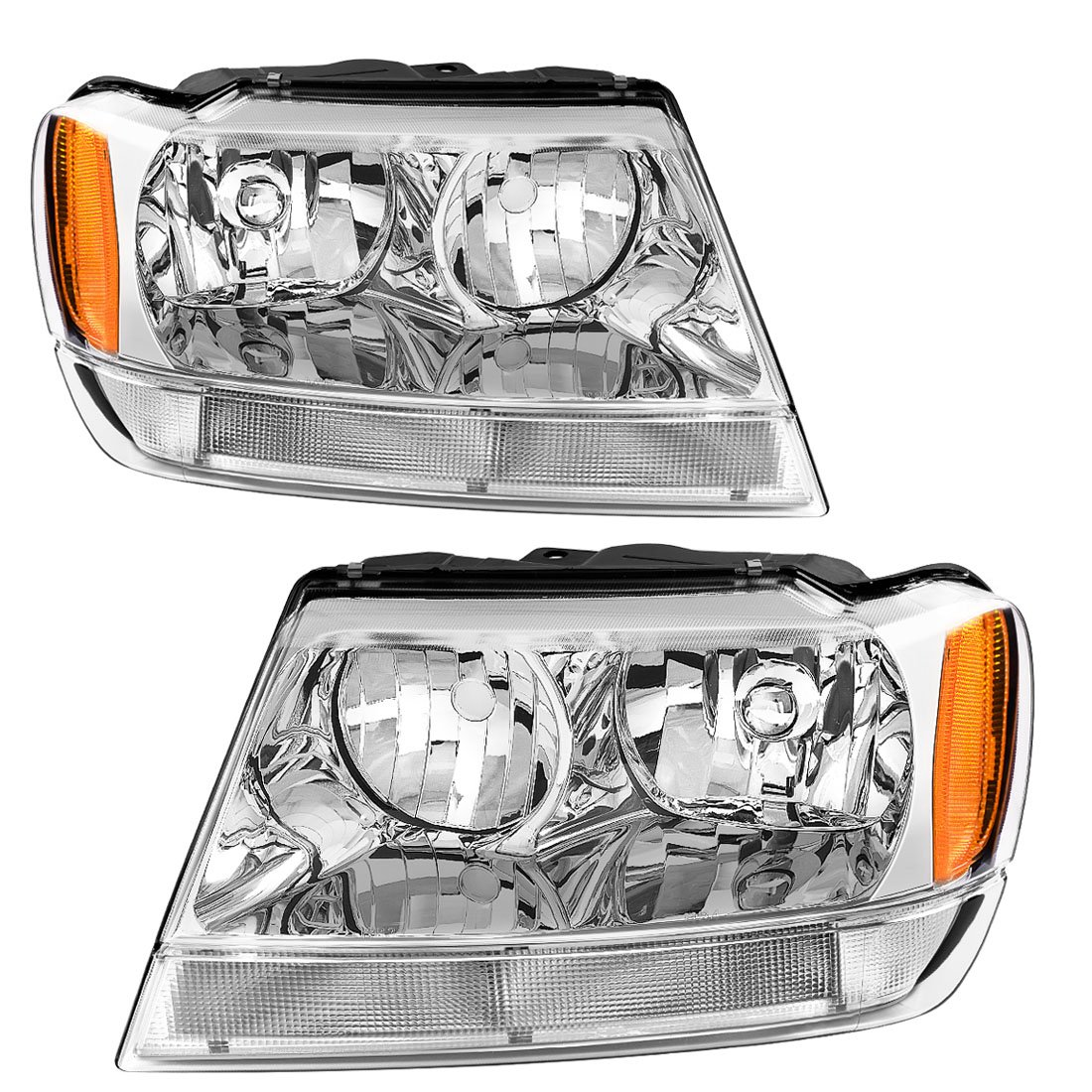 For 99 00 01 02 03 04 Jeep Grand Cherokee Headlight Assembly, OE Projector Headlamp, Amber Reflector Chrome Housing, One-Year Limited Warranty(Driver and Passenger Side) AUTOSAVER88 4333011045