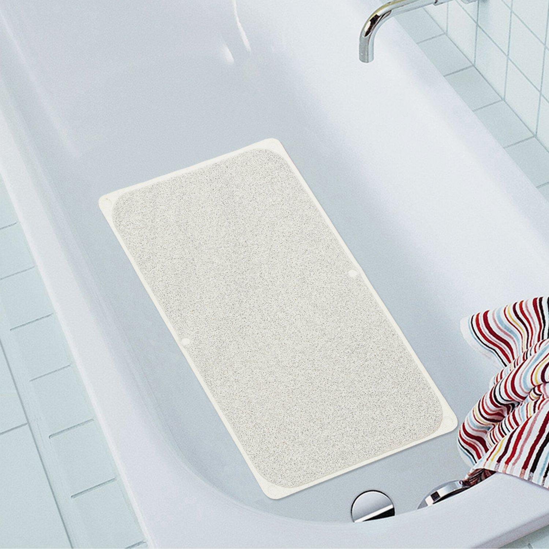 Flamingo P Long Bath Mats Lemon Perfume PVC Mat Non-Slip Bath Mats Anti-Bacterial Shower Mat Shower Mat for Bathroom (Machine Washable) 29L x 17W Ivory, One Pack