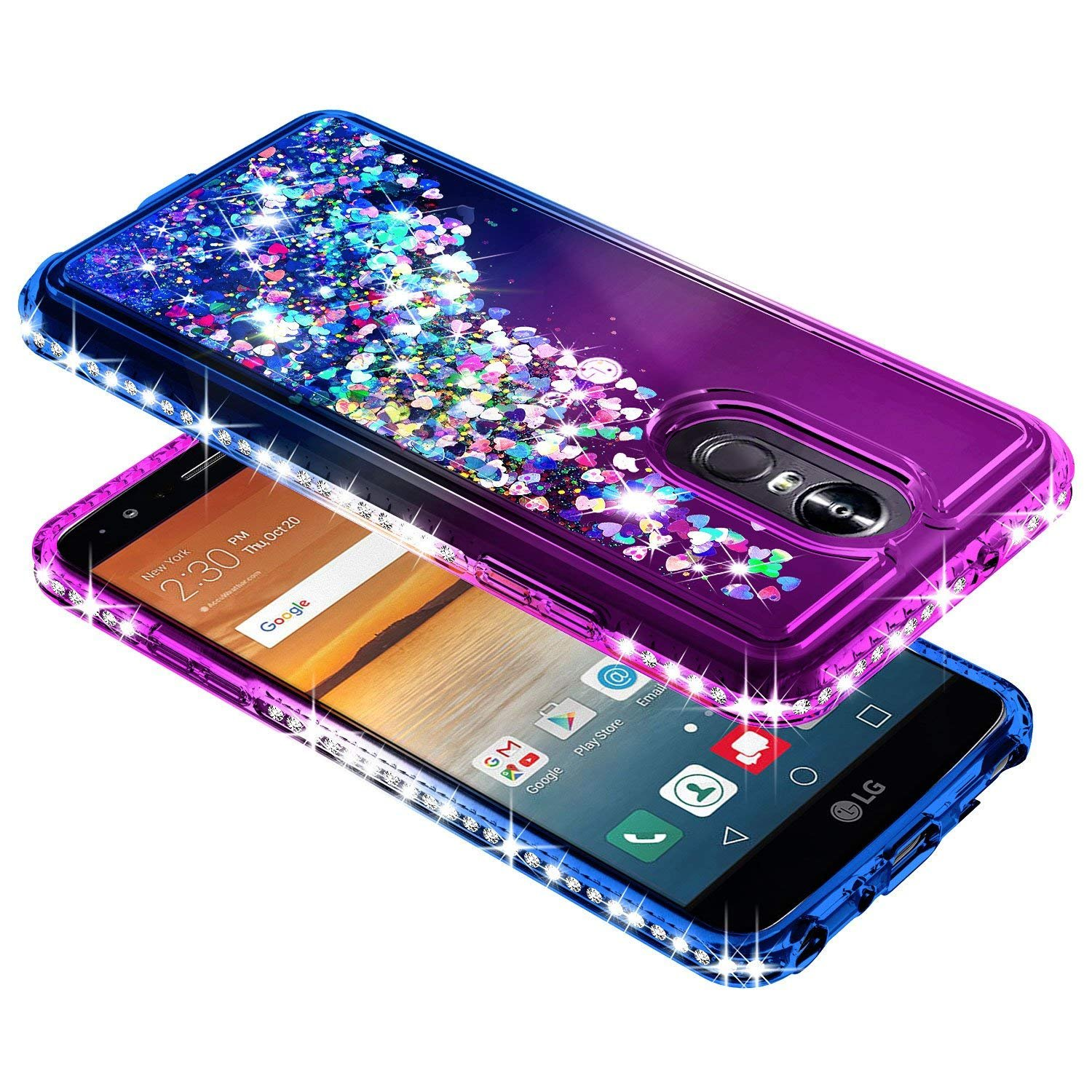LG Stylo 4 Case, LG Stylo 4 Plus Case, LG Q Stylus w/[Full Cover Tempered Glass Screen Protector], NageBee Glitter Liquid Quicksand Waterfall Flowing Sparkle Shiny Diamond Girls Cute Case -Purple/Blue by NageBee (Image #5)