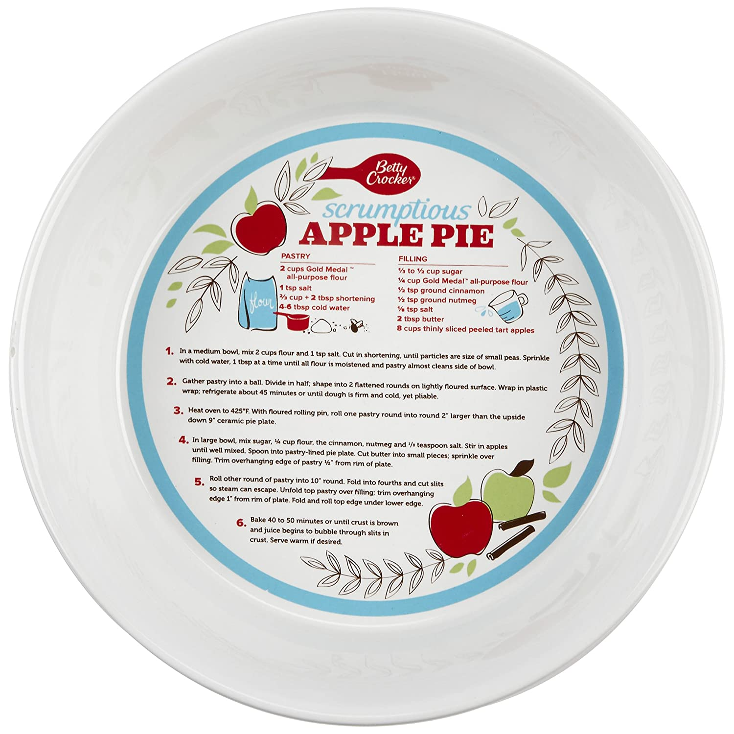 sc 1 st  Amazon.com & Amazon.com: Betty Crocker 28619 Ceramic Pie Plate Red: Kitchen u0026 Dining