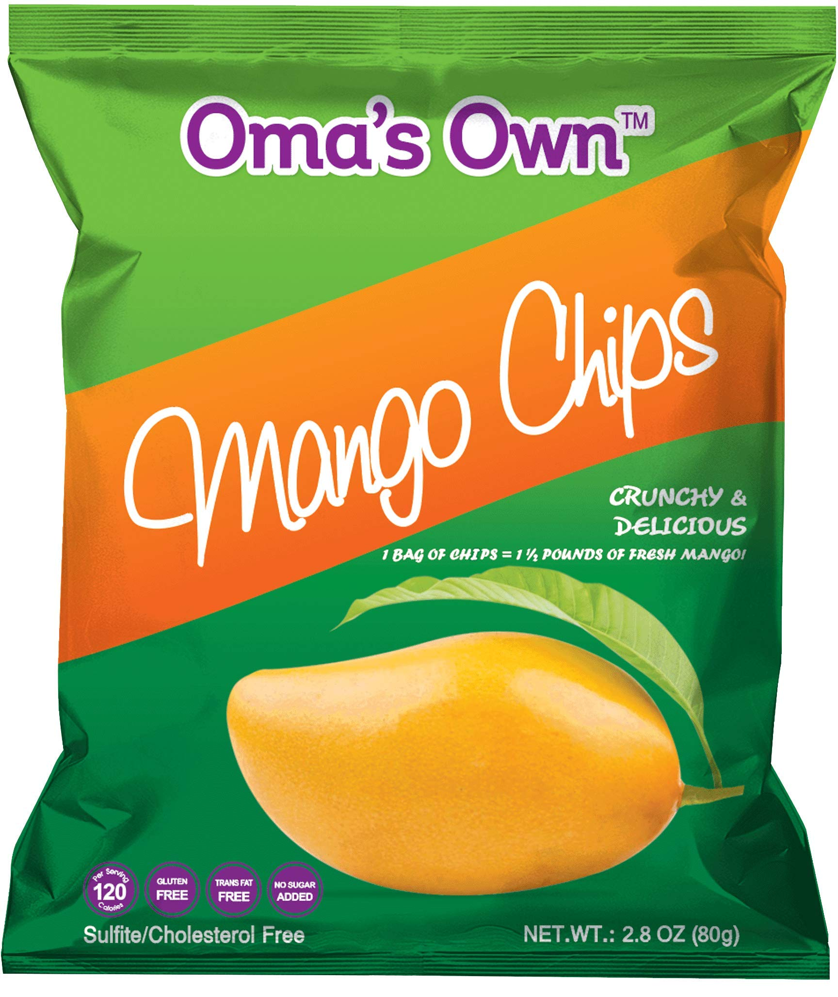 Oma's Own Mango Chips, Gluten Free, Cholesterol Free, Trans Fat Free, 2 ounce packs (6 count)