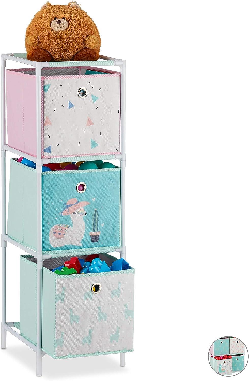 Relaxdays Kinderregal 3 Boxen Jungen Madchen Lama Design