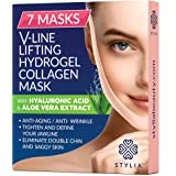 7 Piece V Line Shaping Face Masks – Lifting Hydrogel Collagen Mask with Aloe Vera – Anti-Aging and Anti-Wrinkle Band - Double