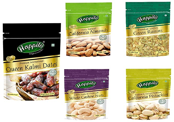 Happilo Premium International Queen Kalmi Dates, 200g + Happilo Premium Dry Fruits Combo 6 (California Almonds, Raisins, Whole Cashews, Roasted Pistachios )