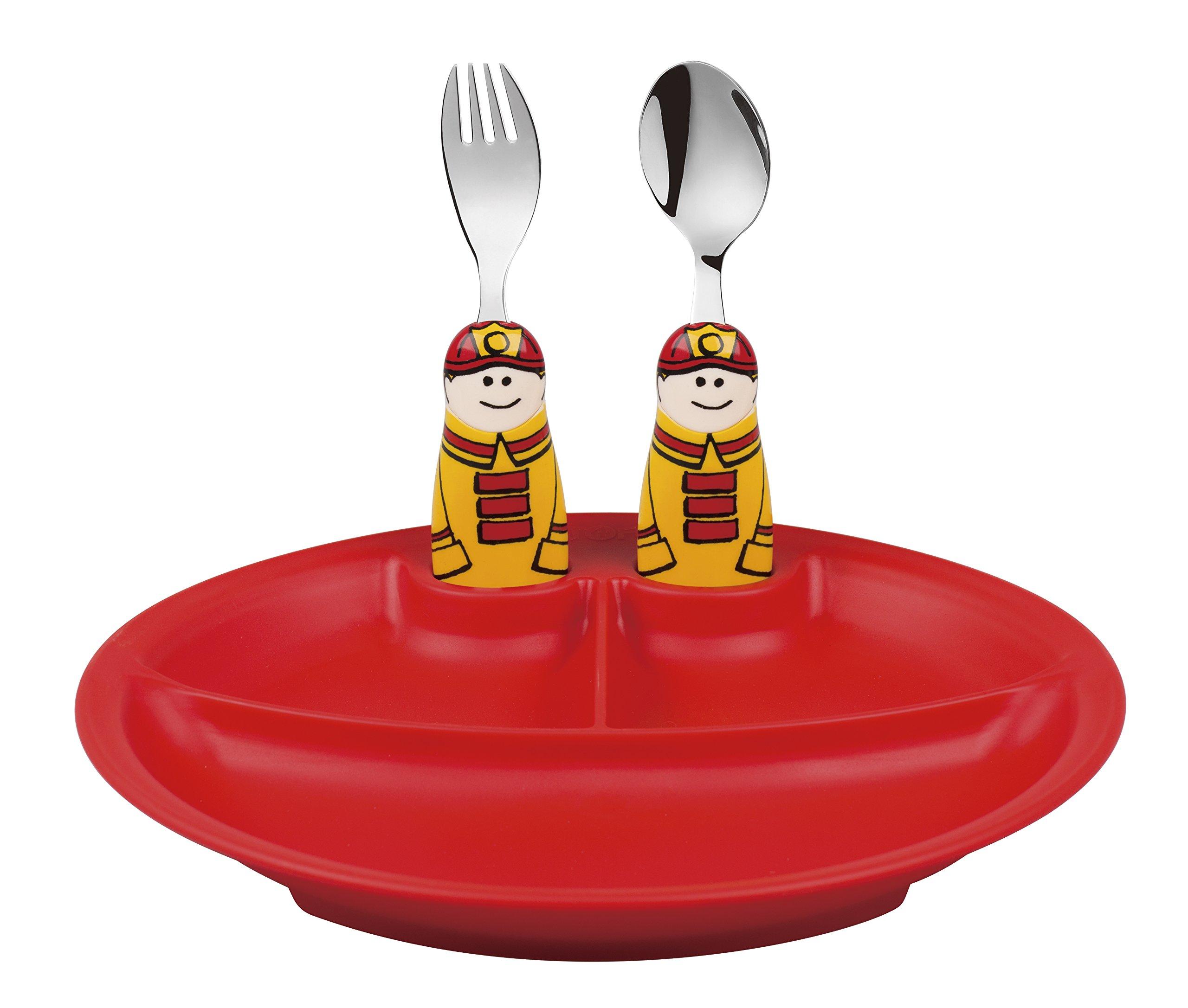 Eat4Fun Duo Collection Eat & Play 3-Piece Dinnerware Set, (Red Plate, Fireman Spoon, & Fireman Fork)