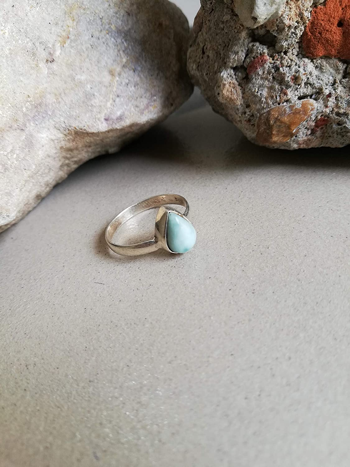 Larimar Ring, 925 Sterling Silver Ring, Exclusive Ring, Trending Ring, Dominican Ring, Personalised Ring, Solitaire Ring, Staking Ring, Republican Ring, Elegant Ring, Teardrop Ring, US All Size Ring.