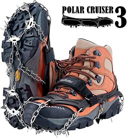 M//L//XL V.one Heavy Duty Crampons Non Slip Shoe Covers Ice Cleats with 18 Teeth Stainless Steel Snow Spikes Velcro Straps and Carry Bag for Walk On Ice Snow and Hiking Climbing Fishing Outdoor