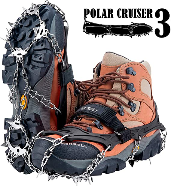 Uelfbaby Crampons Upgraded 19 Spikes Ice Snow Grips Traction Cleats