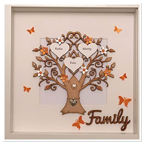 Personalised Family Tree 3d Box Frame Picture Keepsake Wedding Gift