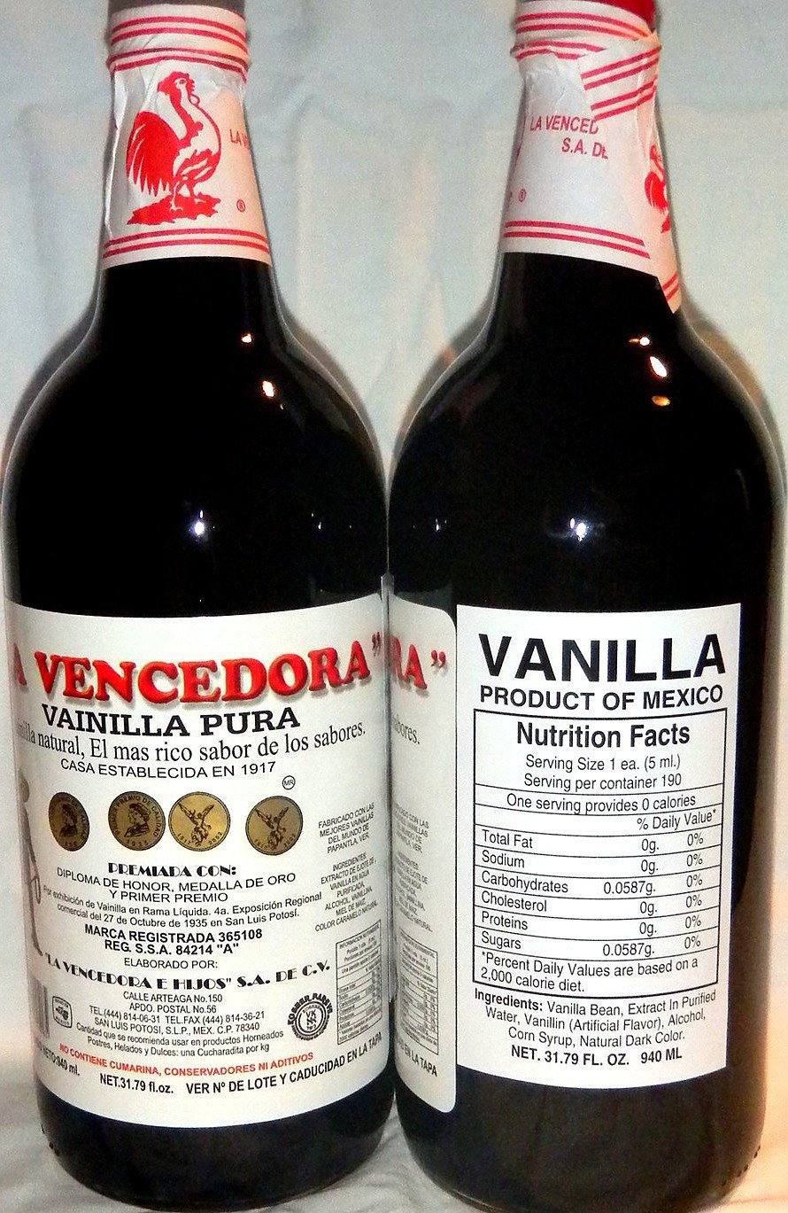 La Vencedora Pure Mexican Vanilla Extract 31oz - 1L Each 2 Glass Bottles Product From Mexico