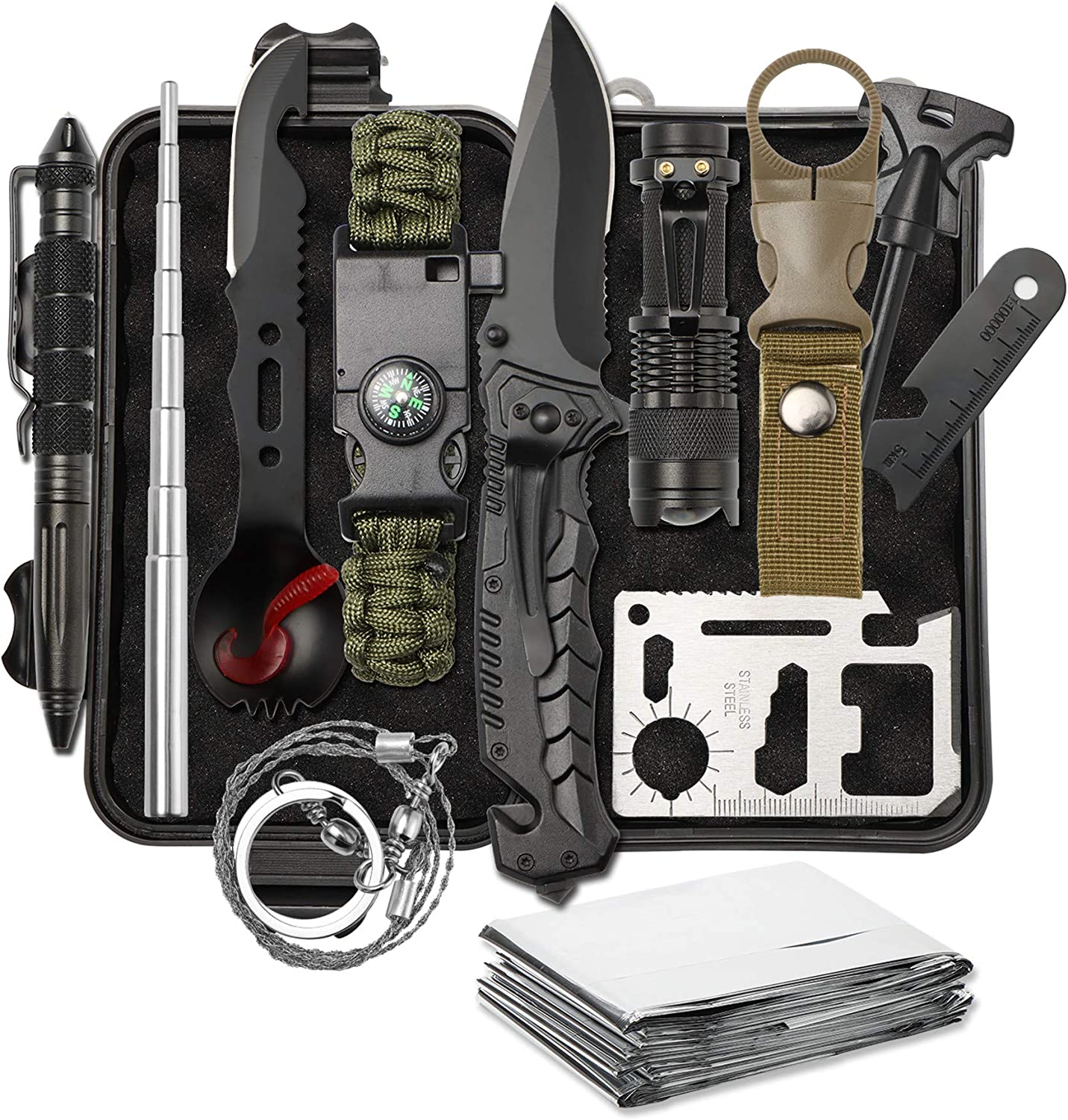 YBLANDEG Survival Gear Kit 13 in 1,Outdoor Emergency Survive Tools Set,Military Tactical Survival Defense Tool for Camping,Hunting,Hiking,Cars,Fishing
