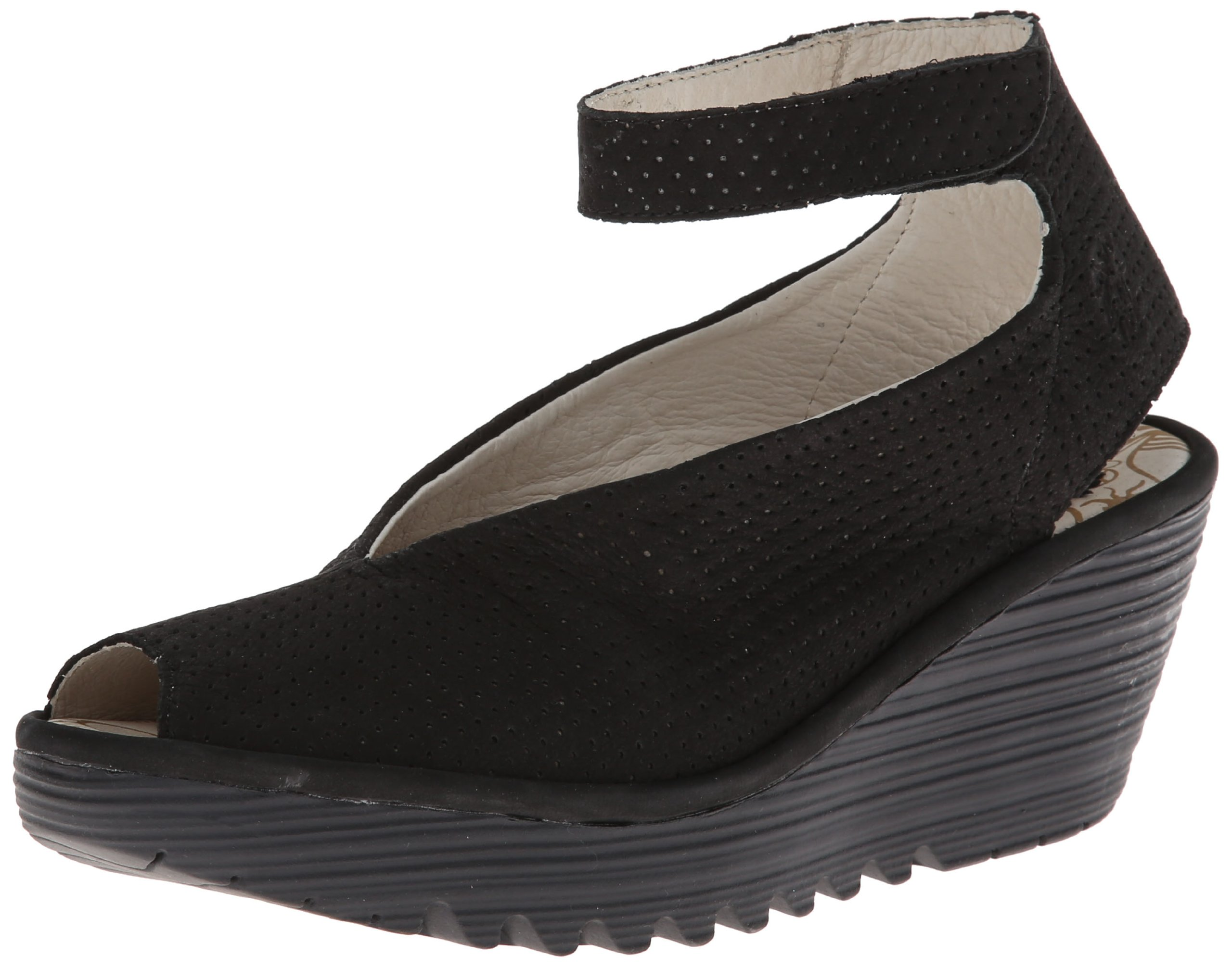 FLY London Women's Yala Perforated Wedge Pump,Black Cupido,37 EU/6-6.5 M US